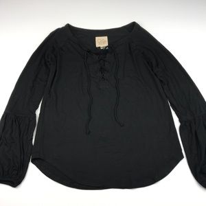 Chaser Long Sleeved Lace Up Boho Top Blouse  NWT